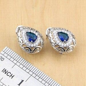 Image 4 - Hyperbole Blue Stone White CZ 925 Silver Jewelry Sets For Women Party Drop Earrings Pendant Rings Bracelet Necklace Set