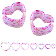 Popular 1 Pair Punk Acrylic Hollow Heart Double Flare Ear Tunnels Gauges Plugs Body Jewelry