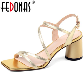 FEDONAS  Elegant Lace Up Buckle Sandals Women 2020 Summer New Arrival Fahsion Thick Heels Pumps Beautiful Party Shoes Woman Heel