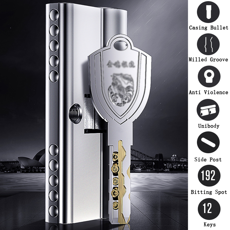 Super C-class lock cylinder Unibody stainless steel Shell Anti violence double bullet Milled groove