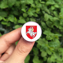 Crystal metal worldwide brooches badge Red White Charms Knight Coat of Arms of Belarus Historical Flag Brooch/Badges/Lapel Pins