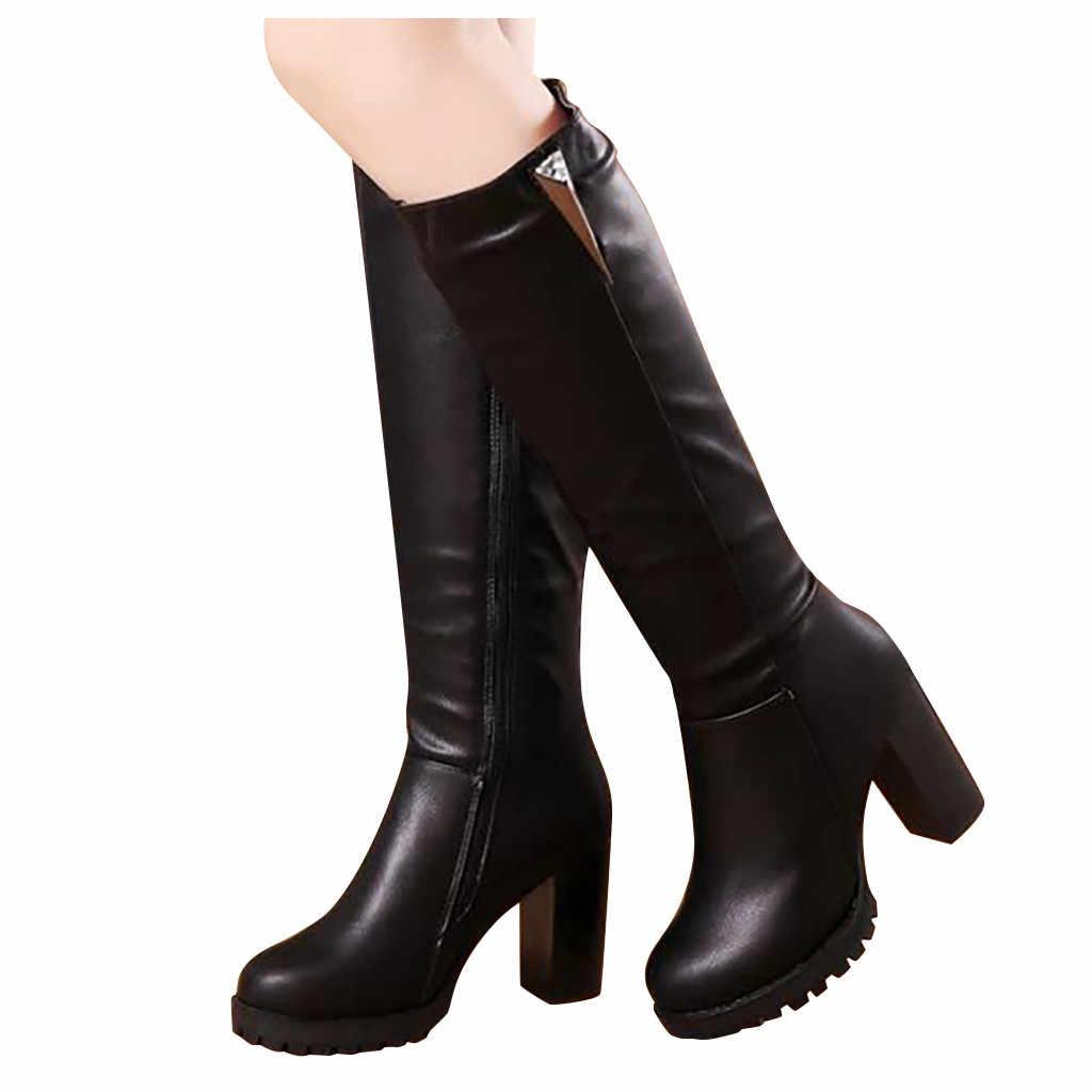 Kadın diz yüksek çizmeler bayan moda ayak bileği platformu yüksek topuklu ayakkabılar uzun tüp şövalye deri günlük çizmeler chaussures femme