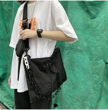 Fashion Boys Girls Shoulder Bag Black Locomotive style Messenger Bags Women Waterproof Male Female Big Capacity Crossbody