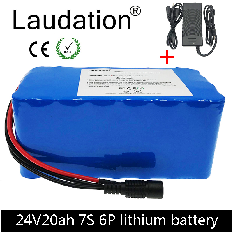 laudation 24V 20ah electric bicycle lithium <font><b>battery</b></font> 24V <font><b>7S</b></font> 6P 18650 <font><b>battery</b></font> <font><b>pack</b></font> for 250W 350W electric motorcycle with 25A BMS image