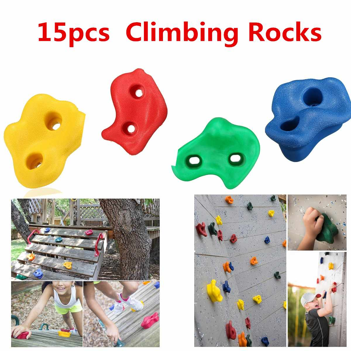 15Pcs Plastic Children Kids Rock Climbing Wood Wall Stones Hand Feet Holds Grip Kits Without Screws Random Color & Shape