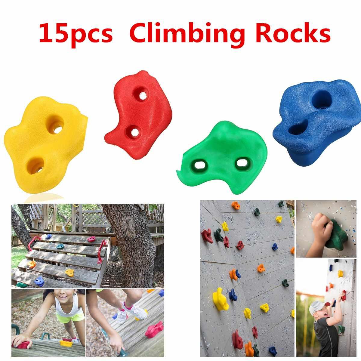 15Pcs Plastic Children Kids Rock Climbing Wood Wall Stones Hand Feet Holds Grip Kits Without Screws Random Color & Shape
