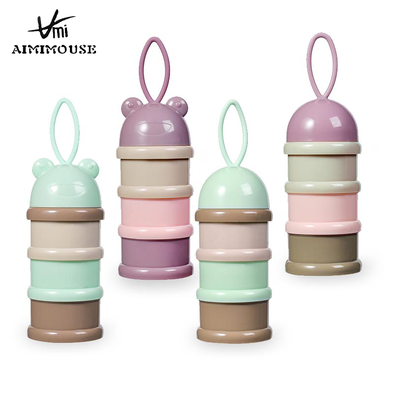 3 Layer Frog Portable Baby Food Storage Box Essential Cereal Cartoon Milk Powder Boxes Toddle Kids Formula Baby Milk Container
