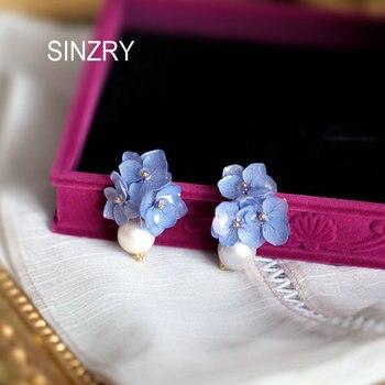 SINZRY personality jewelry handmade freshwater pearl preserved flower tassel drop earrings for women