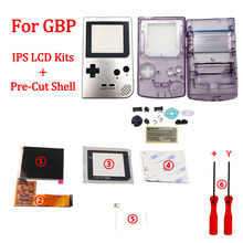 Full screen IPS LCD Kits With Pre cut Shell for GBP LCD IPS backlight screen for GAMEBOY POCKET with 36 colors background light