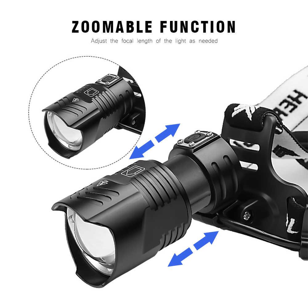 BORUiT 1959 XHP90 Scheinwerfer Zoom USB Ladegerät 3-Modi Scheinwerfer 18650 Kopf Taschenlampe LED Für Camping Jagd Wasserdichte Taschenlampe