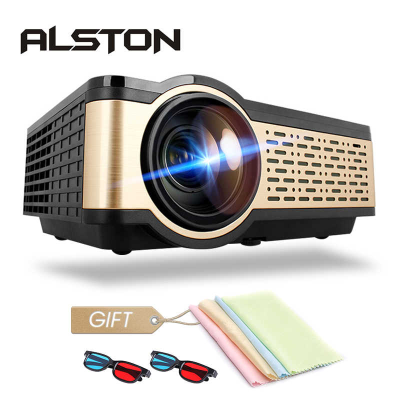 ALSTON W5 HD LCD Mini Proyektor 4000 Lumens Android WIFI Bluetooth Portable Bioskop Mendukung 1080P HDMI USB VGA Airplay dengan Hadiah