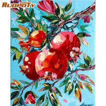 RUOPOTY Red Pomegranate Landscape Painting By Numbers For Adults Handmade 40x50cm Framed Paint Color On Canvas Home Decor image