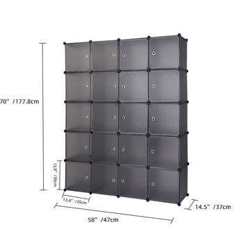 US Warehouse 20 Cube Organizer Stackable Plastic Cube Storage Shelves Design Multifunctional Modular Closet Cabinet