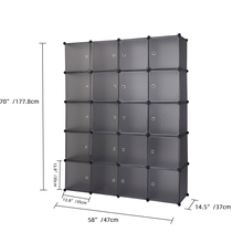 【US Warehouse】20 Cube Organizer Stackable Plastic Cube Storage Shelves Design Multifunctional Modular Closet Cabinet with Hangin