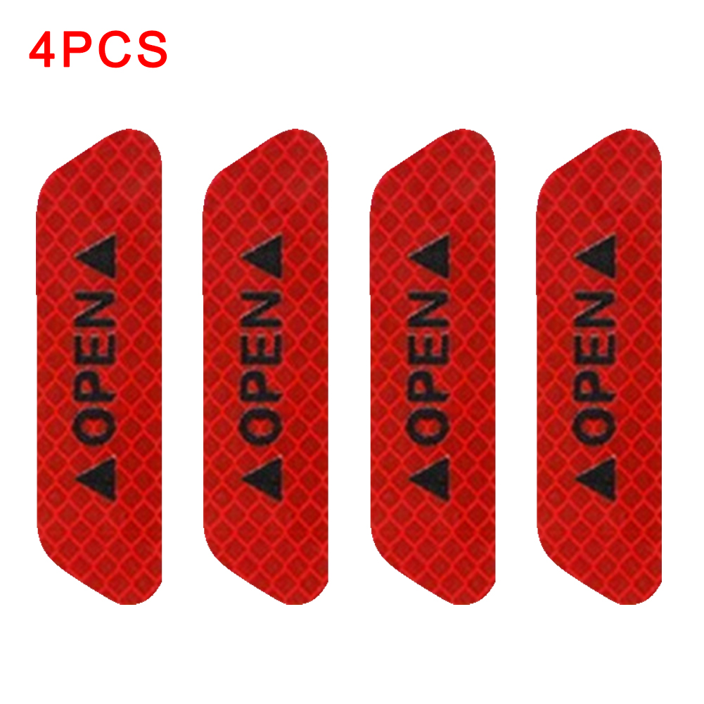 4pcs/set <font><b>Bike</b></font> OPEN Sign Reflective Tape Car Door Waterproof Exterior Reflective <font><b>Stickers</b></font> Reflective Strips Safety Bicycle image