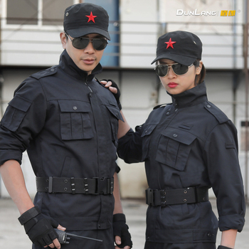 Security Overalls  Camouflage Suits Spring Autumn Men Thickened Long-Sleeved Property Uniforms Black Special Training Uniforms
