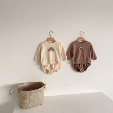 Milancel roupas de bebê outono bebê hoodies e bloomer 2 pçs bebê meninos conjunto bonito arco-íris infantil meninas terno