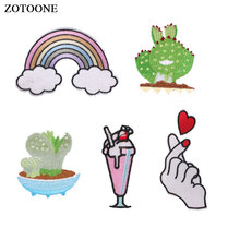 ZOTOONE Cactus Heart Drink Patches for Clothing T-shirt Iron on Rainbow Badges Embroidered DIY Heat Transfer Sew Applique G