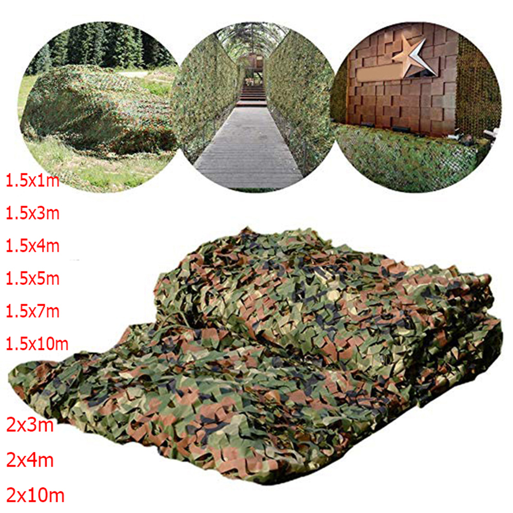 Filet de camouflage militaire, pour être à l'abri du soleil,bâche de voiture, tente d'ombrage, camo pour entraînement de l'armée en forêt, idéal pour le camping et la chasse, 1,5×3 m, 2×10 m,