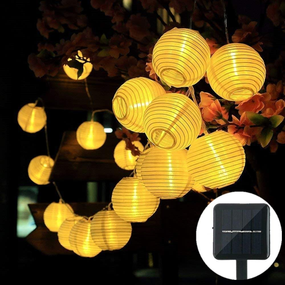 Lantern String Lights Solar Fairy Lights With Fabric Lantern For Christmas, Garden, Home, Yard, LED Garland