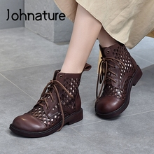 Retro Shoes Ladies Sandals Summer Women Johnature Lace-Up Handmade Hollow Genuine-Leather