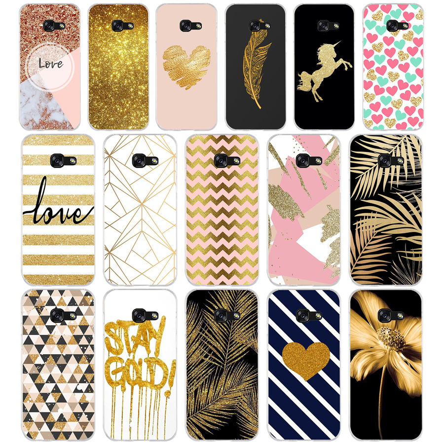 398WE amp yellow <font><b>gold</b></font> glitter Soft Silicone Tpu Cover phone <font><b>Case</b></font> for <font><b>Samsung</b></font> A3 A5 2016 A3 A5 2017 A7 A8 2018 A50 image