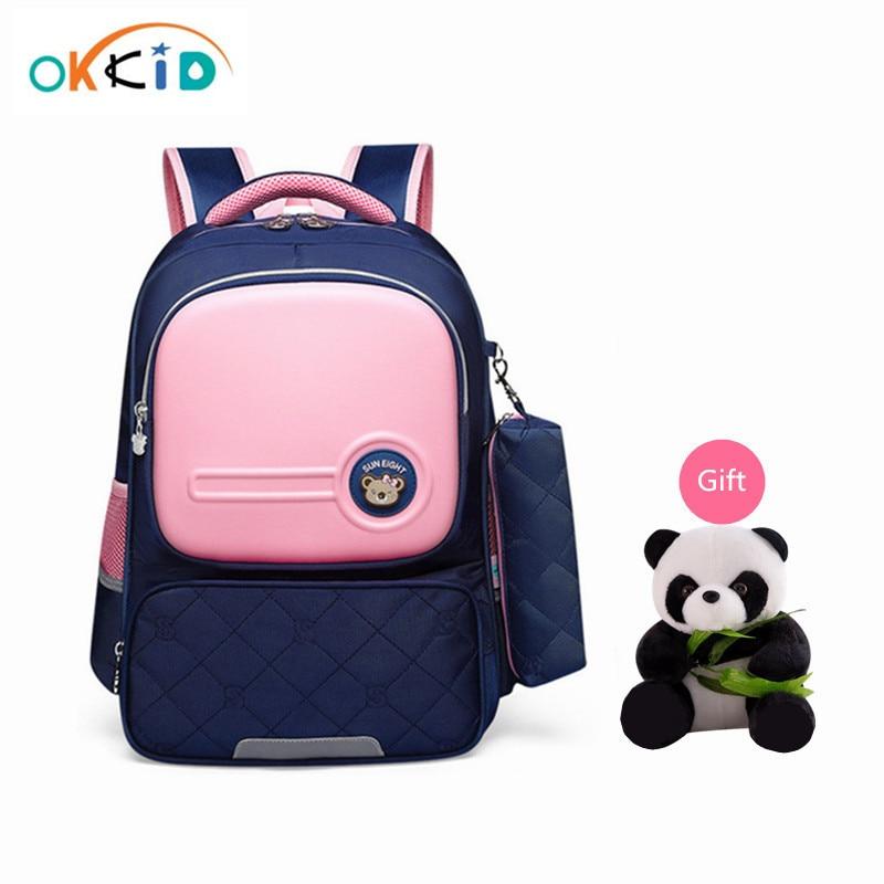 OKKID Children School Bags For Girls Cute Korean Style Kids Pink Bag Orthopedic School Backpack For Boy Waterproof Bookbag Gift