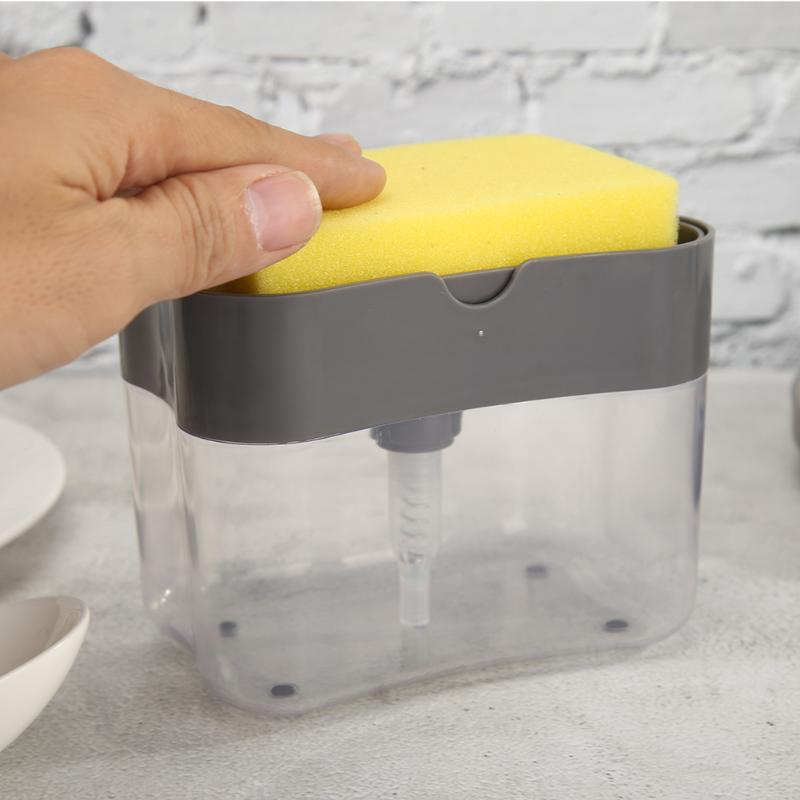 2-in-1 Sponge Box Lightness Portability No Space Occupy With Soap Dispenser Manual Plastic Double Layer Kitchen Gadget