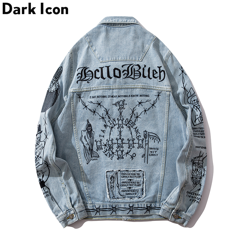Dark Icon Embroidery Jean Jackets Turn-down Collar Men Street Hip Hop Jackets Casual Denim Jackets For Man