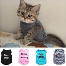 """Pet Clothes Casual Puppy Dog Cat Clothing """"I Love Mommy & Daddy"""" Print Cat Vest Tee Shirt 100% Cotton T-shirt Cat Kitten Apparel"""