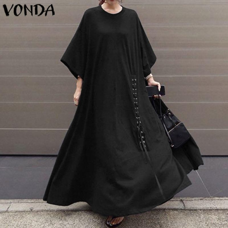 VONDA Autumn Maxi Dress Casual Loose Round Neck 3/4 Sleeve Party Dresses Plus Size Summer Beach Sundress Bohemian Vestidos 5XL