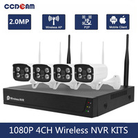1080P كاميرا مراقبة لاسلكية عدة 4CH واي فاي طقم NVR المنزل CCTV الأشعة تحت الحمراء للرؤية الليلية في الهواء الطلق كاميرا مضادة للماء NVR