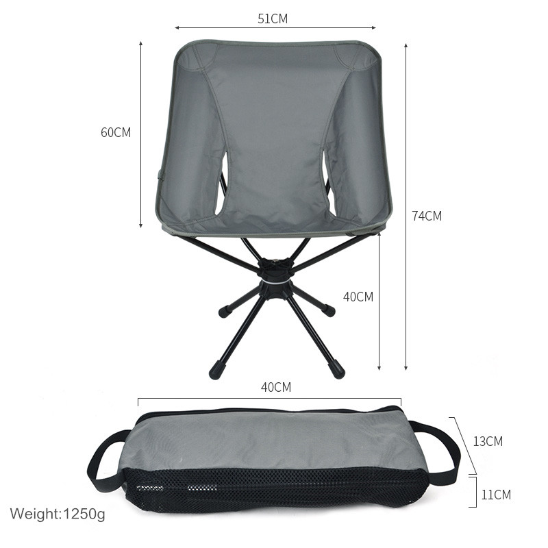 360 Rotating Outdoor Portable Folding Camping Chair Compact Swivel Seat For Fishing BBQ Hunting Hiking Beach Backpacking Tools