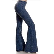 Flare Jeans Woman Vintage Elastic Waist Denim Pant Strech Trousers High Casual Women Streetwear Slim femme