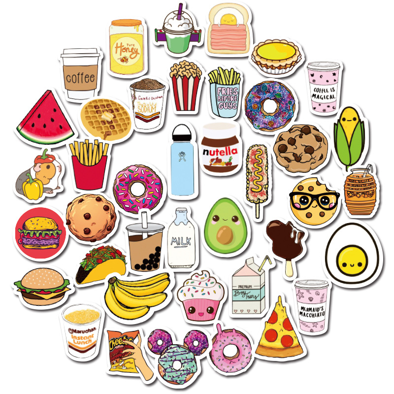 40pcs Kawaii Delicious Food Mini Paper Sticker Decoration Backpack Notebook Laptop Car Scrapbooking Phone Decal Toy For Children