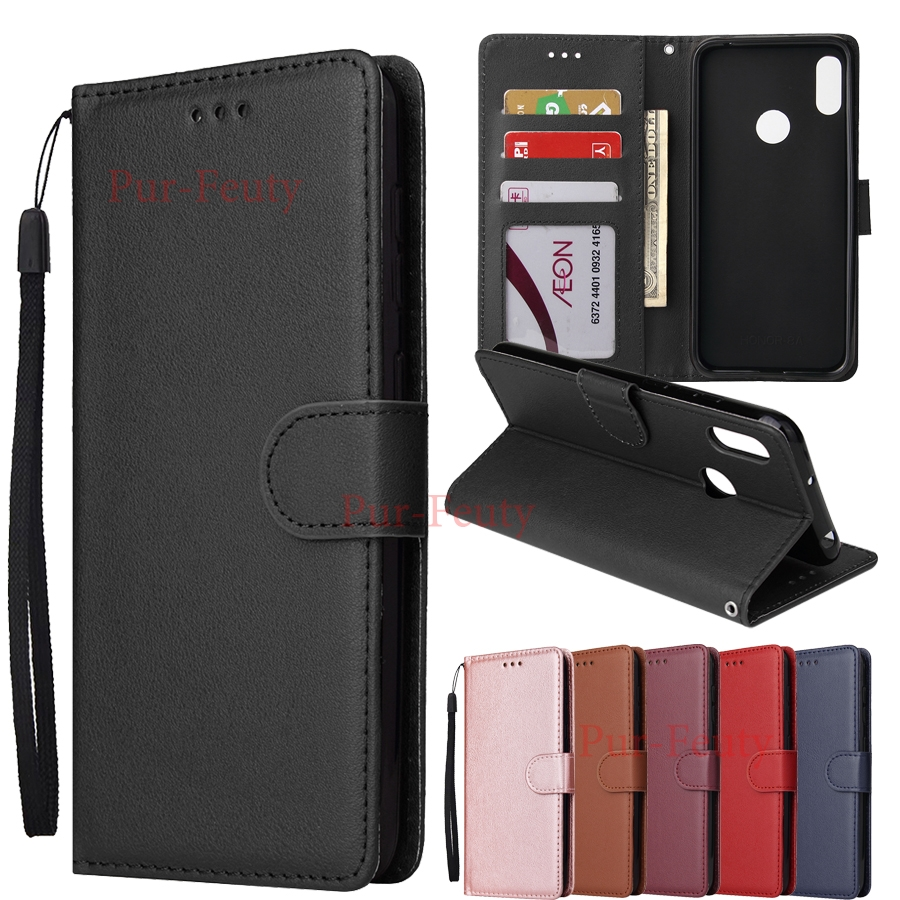 Case For Huawei Y7 2019 DUB L21 LX1 L23 LX3 Classic Solid Color Wallet Flip Leather Cover For Huawei Y7 Prime 2019 DUB L21 LX1 image