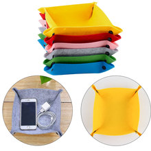 Felt Foldable Storage Trays for Dice Table Games Key Wallet Coin Tray Square Placemat Box Desktop Decor @