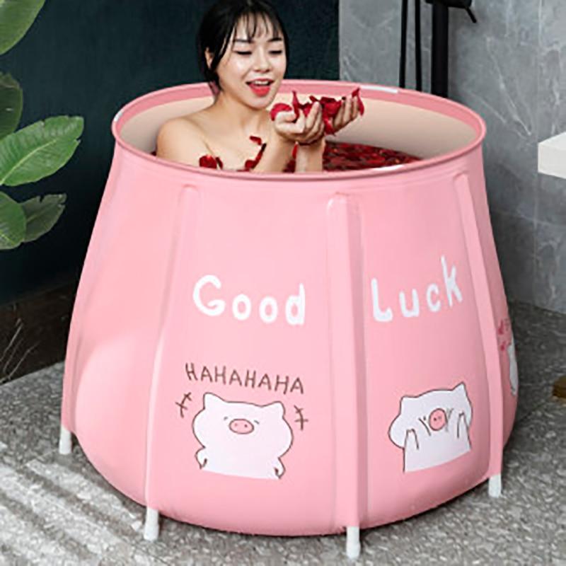 Portable Bathtub Folding Bath Bucket Foldable Large Adult Tub Baby Swimming Pool Insulation Separate Family Bathroom SPA Tub