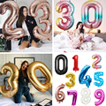 16/32/40 Inch номер алюминиевой фольги воздушный шар цвета: золотистый, серебристый, розовый, красный, синий воздушный шар с гелием на день рожден...