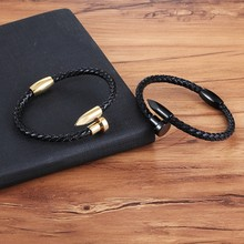 Leather bracelet stainless steel with magnetic buckle cool boys birthday gift nail design fixing accessories(China)