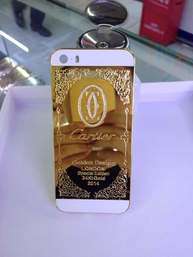 Pour iphone 5s boîtier plaqué or 24k ct véritable or nouveau design pour iphone 5S avec boîtier en or diamant