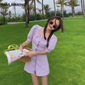 Женское платье с высокой талией, фиолетовое повседневное облегающее платье-мини с пышными рукавами и принтом в мелкую клетку на лето