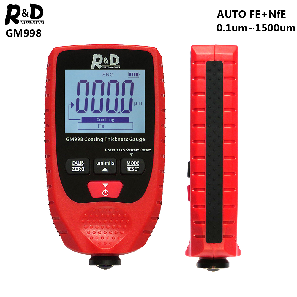 R & D GM998 rouge peinture revêtement épaisseur jauge voiture peinture galvanoplastie métal revêtement épaisseur testeur mètre 0-1500um Fe & NFe sonde
