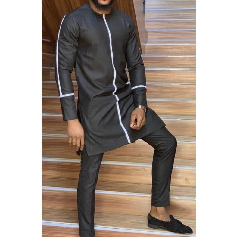 African Fashion Man Pant Sets O-neck Top And Trouser Senator Style Men's Outfit Dashiki Wear Patchwork Black/white Mix Shirt