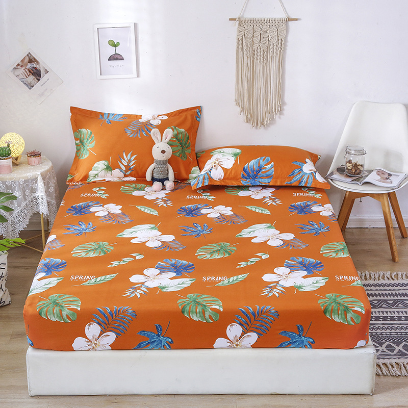 Bedding 1 PCS Bed Fitted Sheet Floral Prin Mattress Cover Protector Washable Queen King Size Elastic Band Bedspread