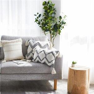 Image 3 - 45*45 Chair Cushion Nordic Modern Home Decor Minimalist Pillow Tufted Tassel Morocco Gray Seat Cushion Pillowcase