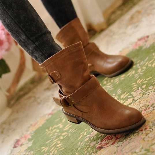 MÙA THU ĐÔNG Giày Nữ Giày Nữ Khóa Nữ Mắt Cá Chân Giày Gót Thấp Da PU Đấu Sĩ Ủng Nữ Plus Kích Thước 35-41