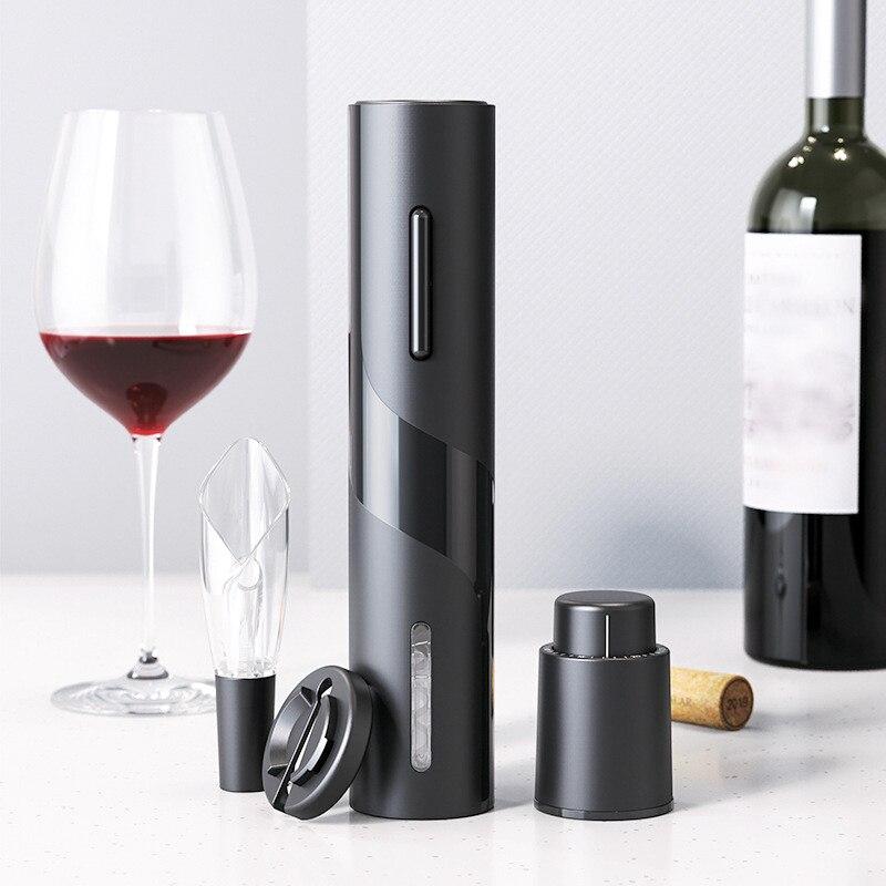 4 pçs conjunto abridor de vinho elétrico criativo recarregável automático saca-rolhas abridor de garrafa de vinho com cabo de carregamento usb ferramenta da cozinha
