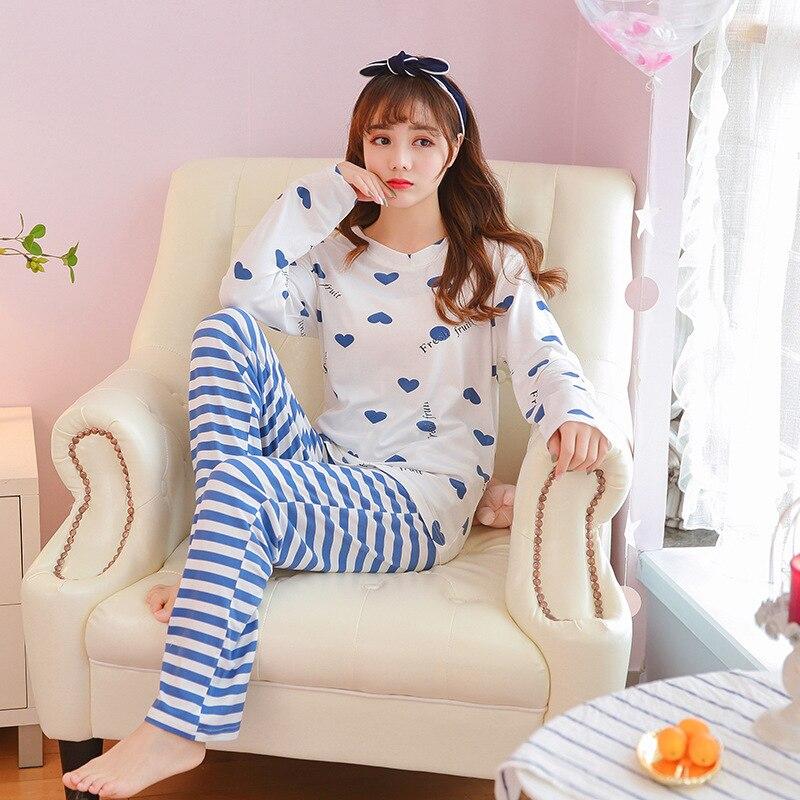Spring Summer 100% Full Cotton Cartoon Pajamas Set Women Pyjamas Homewear Long Sleeve Sleepwear Home Clothes Night Suit Female