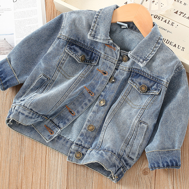 Korean-style Childrenswear 2020 Spring And Autumn New Style Girls' Jean Jacket Female Baby Solid Color Tops Children Fold-down C